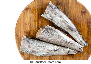 vista superiore, sopra, fresco, crudo, hake, fish, su, il, cuting, asse, con, bianco, spazio copia