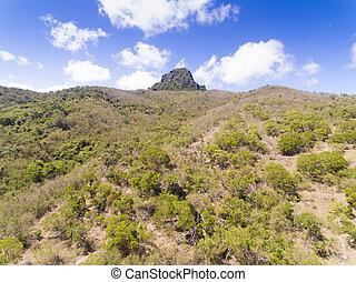 vista, taiwan, dajian, aéreo, mountain.