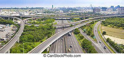 vista, taiwan, kaohsiung, aéreo, auto-estrada, intercâmbio, city.