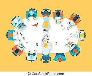vista, teamwork., brainstorming, negócio, topo