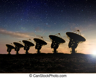 vista, telescopio de radio, noche