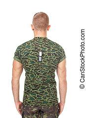 vista traseira, de, exército, soldado, ficar, em, atenção