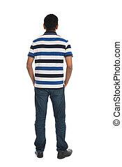vista traseira, de, jovem, casual, homem, isolado, branco, fundo