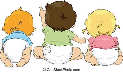 vista traseira, de, toddlers, olhar