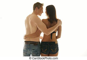 vista traseira, de, um, par jovem, apaixonadas