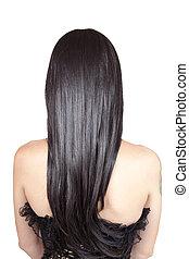 vista trasera, de, mujer joven, con, negro, sedoso, pelo