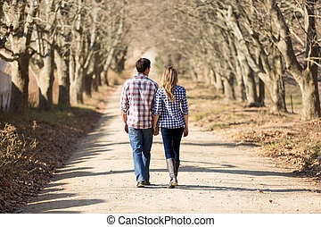 vista trasera, de, pareja que sujeta manos, ambulante, en, otoño, campo