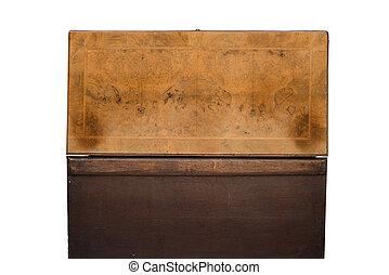 vista trasera, de, un, abierto, antigüedad, de madera, tronco