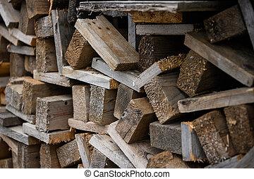 vista., um, work., empilhado, lado, one., madeira, construção, placas