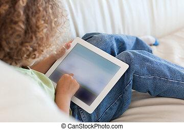 vista, utilizar, espalda, niño, tableta, joven, computadora