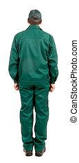 vista., workwear., verde, trabajador, espalda