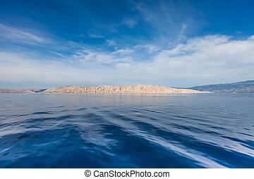 vistas, de, croata, isla, en, cielo azul, y, ondulado, mar