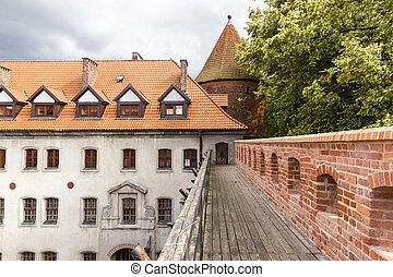 vistas, de, poland., bytow, cidade velha, com, gótico, castle.