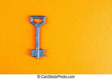 vistas, experiência., topo, laranja, tecla, antigas, metal