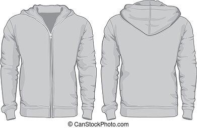 vistas, hombres, espalda, camisas, hoodie, frente, template.