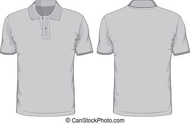 vistas, hombres, espalda, polo-shirts, frente, template.