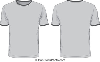 vistas, homens, costas, frente, template., camisetas