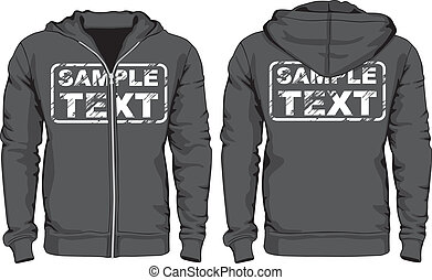 vistas, homens, costas, shirts., hoodie, frente