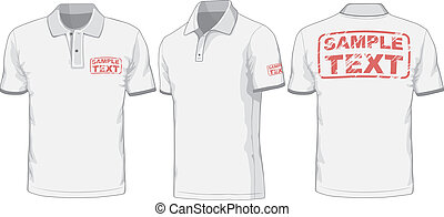 vistas, polo-shirt., espalda, frente, vector, lado