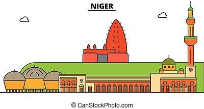 vistas, vector, símbolo, landmarks., níger, negro, set., ...