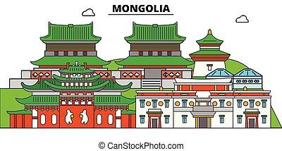 vistas, vector, símbolo, landmarks., negro, mongolia, set., ...