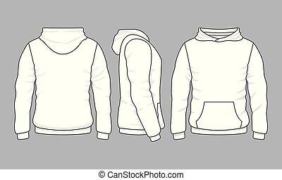 viste, indietro, fronte, hoodie, felpa, maschio, lato