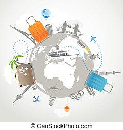 viste, viaggiare, trasporto, illustration., famoso