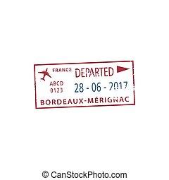 visto, aeroporto, bordeaux-merignac, partenza, francobollo