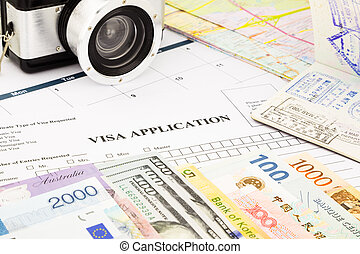 visto, forma aplicação, passaporte, moeda corrente mundo, e, notas