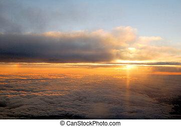 visto, nubes, sobre, salida del sol