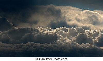 visto, nuvens, acima