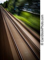 vistos, ferrocarril, tren, mudanza, rápido