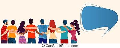 vistos, se abrazar, cada, solidaridad, atrás, diverso,...
