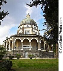 vistoso, igreja, com, um, colonnade