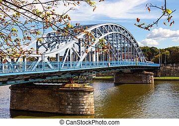 Vistula River in the historic city center of Krakow, Poland