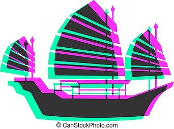 visual, ícone, bote