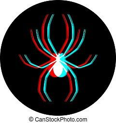 visual, ícone, círculo, efeito, aranha