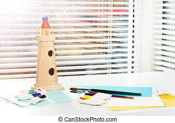 Visual art lesson at the kindergarten or school - Stationery...