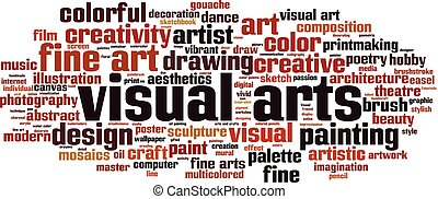Visual arts word cloud concept. Vector illustration