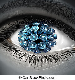 Visual communication with a close up of a human eye with a group of megaphones as a symbol media reporter and marketing or a testimony by a whistle blower transmitting witnessed information through internet technology
