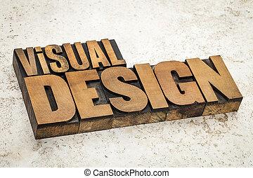 visual design text in vintage letterpress wood type on a ceramic tile background