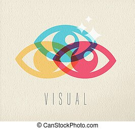 Visual eye view icon concept color design