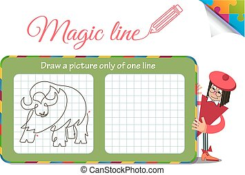 Draw a picture only of one line buffalo