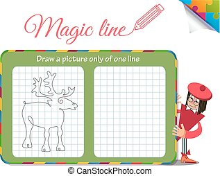 Draw a picture only of one line deer