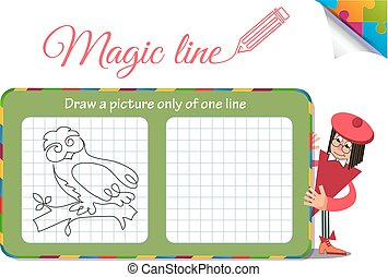 Draw a picture only of one line owl