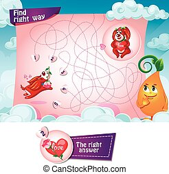 Find right way - Visual Game for children. Task Find right...