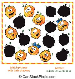 Visual puzzle - Match the pictures to their shadows. Answer included.