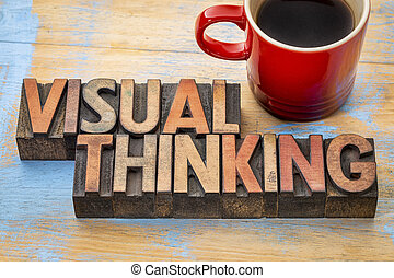 visual thinking word abstract in wood type