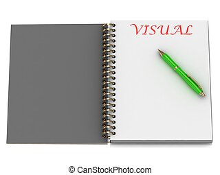 VISUAL word on notebook page and the gold-green pen. 3D...