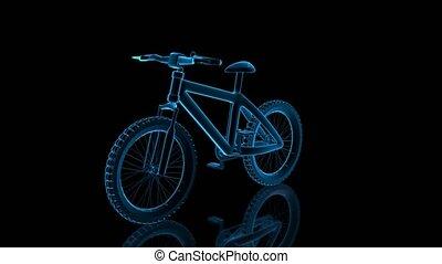 visualisation, vélo, loop., seamless, tourner, arrière-plan., noir, technologie numérique, 3d